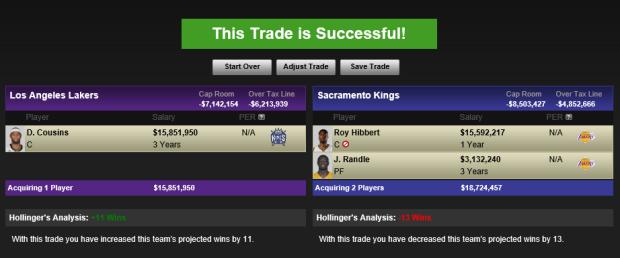 LakersKingsCousinsHibbertRandleTrade